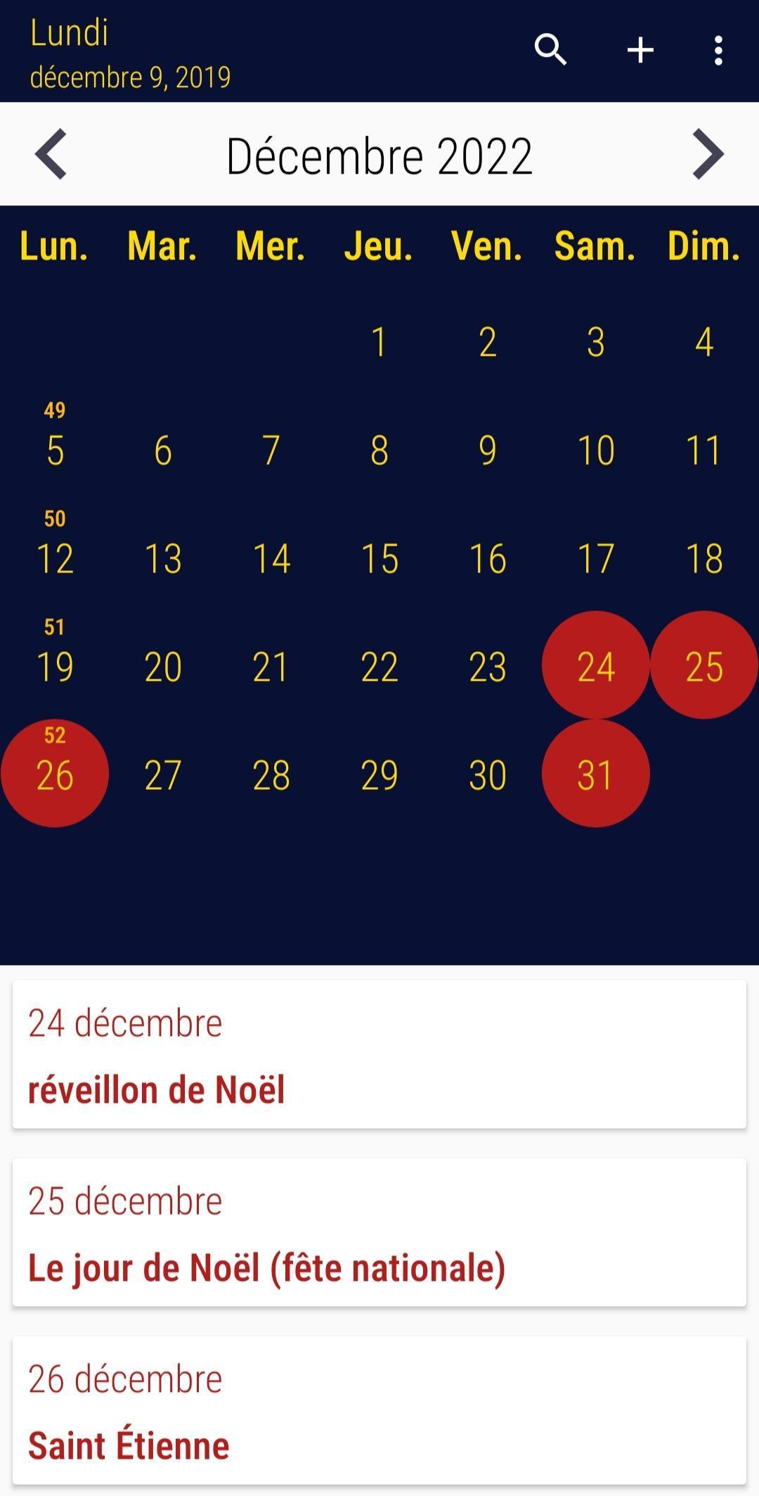 Calendrier 2020 Français screenshot 1