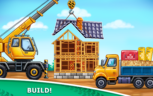 बच्चों के लिए ट्रक गेम - घर की इमारत  कार धोने स्क्रीनशॉट 4