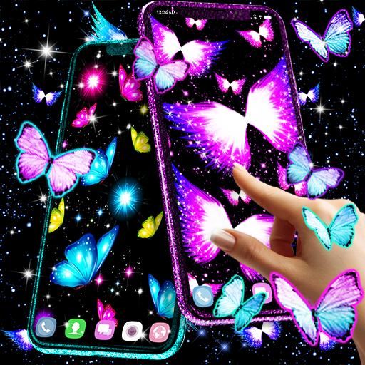 Neon butterflies glowing live wallpaper أيقونة