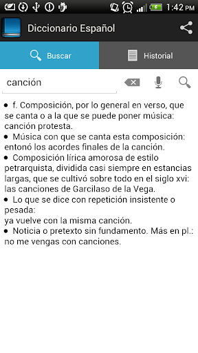 Spanish dictionary screenshot 3