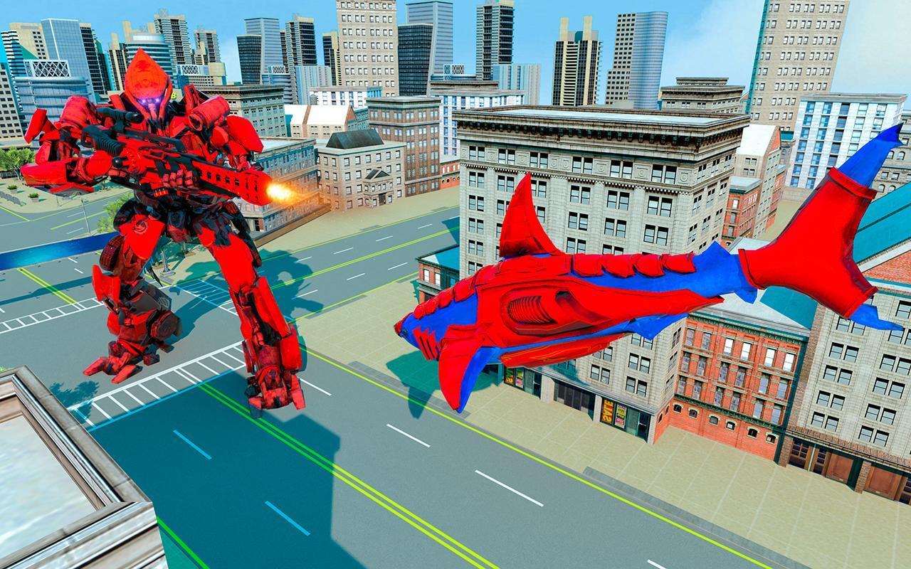 Grand Shark Robot Car Transformation War 5 تصوير الشاشة