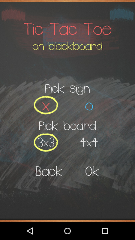 Tic Tac Toe on blackboard 2 تصوير الشاشة