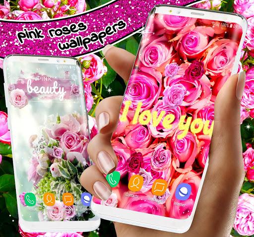 Spring Rose Live Wallpaper 🌹 Pastel Pink Themes screenshot 2