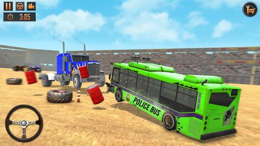 US Police Bus Demolition Derby Crash Stunts 2021 screenshot 7