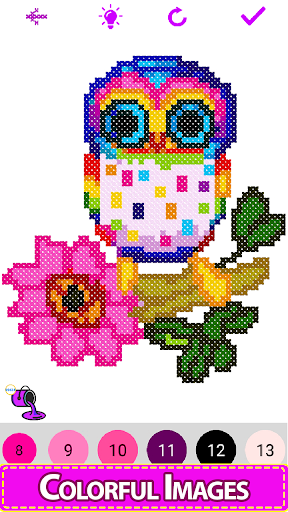 Cross Stitch - Adult Coloring By Number Book Pages screenshot 4