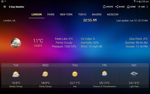 الطقس وويدجت الساعة لأندرويد - توقعات الأرصاد 16 تصوير الشاشة