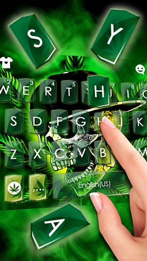 ثيم لوحة المفاتيح Rasta Weed Skull 2 تصوير الشاشة