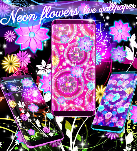 Neon flowers live wallpaper скриншот 1
