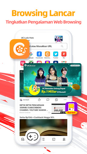 UC Browser-Aman, Gratis & Unduh Video dengan Cepat screenshot 1