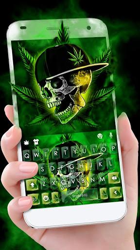ثيم لوحة المفاتيح Rasta Weed Skull 1 تصوير الشاشة