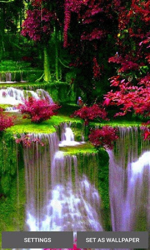 Waterfall Flowers LWP 1 تصوير الشاشة