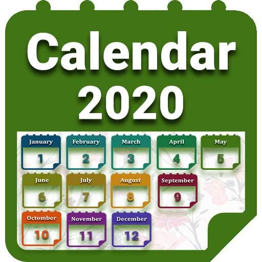 Calendar 2020 with Holidays
