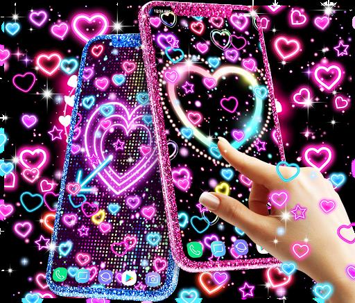 Neon hearts live wallpaper 1 تصوير الشاشة