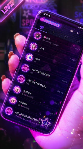 Neon Messenger for SMS - Emojis, original stickers screenshot 1