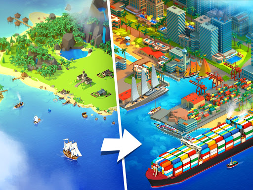 Sea Port: สร้าง Town & Ship Cargo ในซิม Strategy screenshot 1
