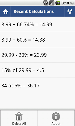 Percent Calculator 3 تصوير الشاشة