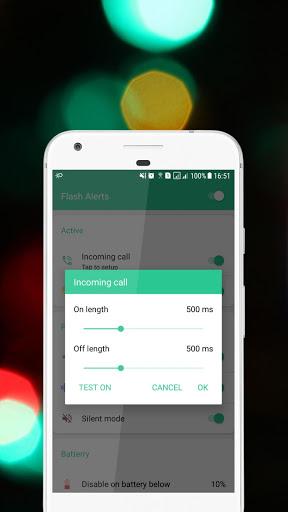 Flash alerts on call and sms - Ringing flashlight screenshot 4