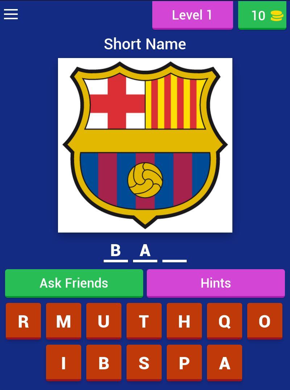Football Club Logo : Short Name Quiz 1 تصوير الشاشة
