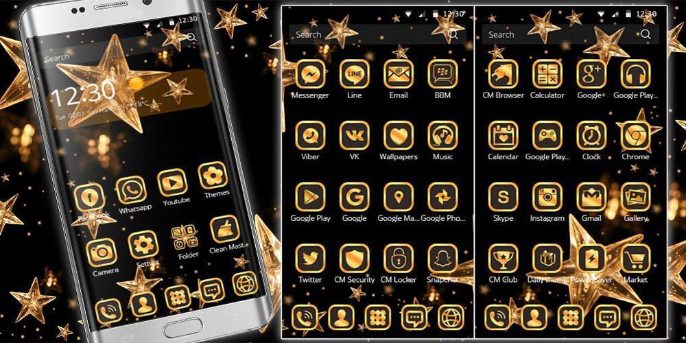 Gold Star Theme Wallpaper Lux Black Gold 3 تصوير الشاشة