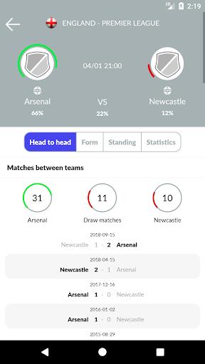 تنبؤات وإحصائيات كرة القدم والمراهنات 3 تصوير الشاشة