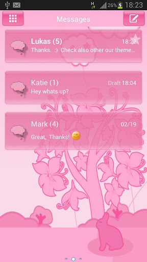 Animal Theme Pink GO SMS Pro screenshot 1