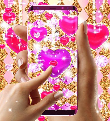 Golden luxury diamond hearts live wallpaper screenshot 7