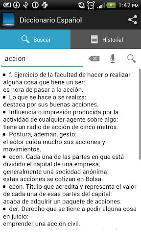 Spanish dictionary screenshot 2