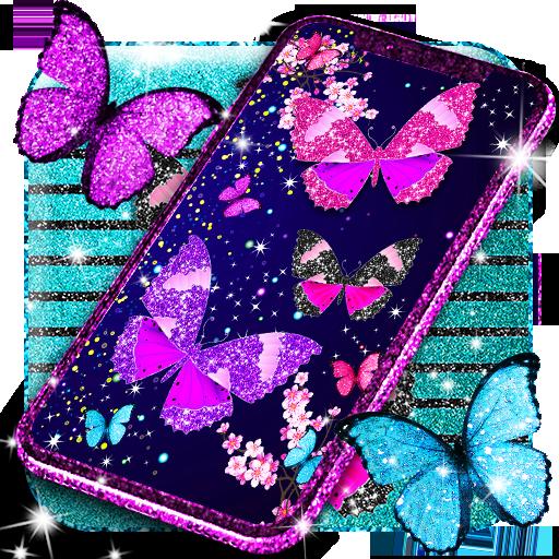 Glitter butterfly live wallpaper أيقونة