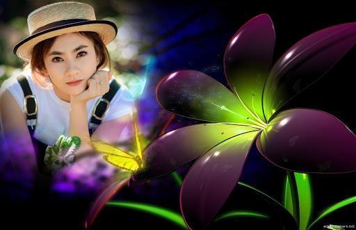 Neon Flower Photo Frame do screenshot 1